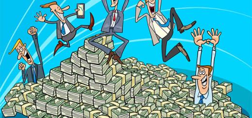 Люди купаются в деньгах