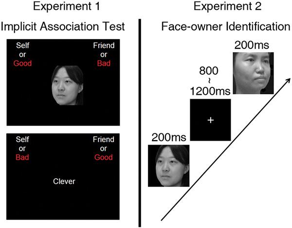 Эксперименты, демонстрирующие разницу в самооценке на фоне других людей (друзей). В первом опыте на фоне портрета — своего собственного или друга — появлялись оценочные качества личности (умный, красивый, добрый, глупый, злой и т. д.). Испытуемым нужно было просто отреагировать на свой портрет нажатием кнопки. У атеистов реакция на свой портрет с негативными качествами была более медленной, чем на портрет с положительными качествами. Во втором эксперименте оценивалась скорость реакции на свой портрет и на портрет друга правой и левой рукой.