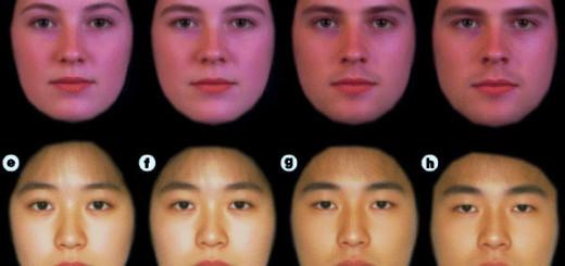 Рис. 1. Женские (два левых) и мужские (два правых) лица европеоидной (вверху) и монголоидной (внизу) расы с усиленными на компьютере женскими (в каждой паре — левое) и мужскими (в каждой паре — правое) чертами.